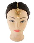 Fancy Gold Finish Mang Tika Studded With Stone Fancy Mang Tika Jewellery