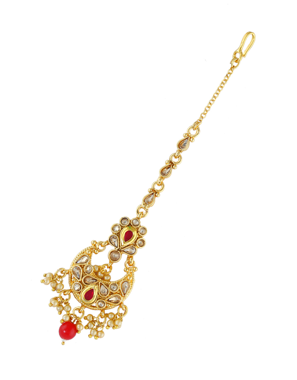 Red Colour Kundan Gold Finish Pearls Styled Fancy Tika