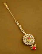 Red Colour Gold Finish Floral Hair Matha Mang Tikka