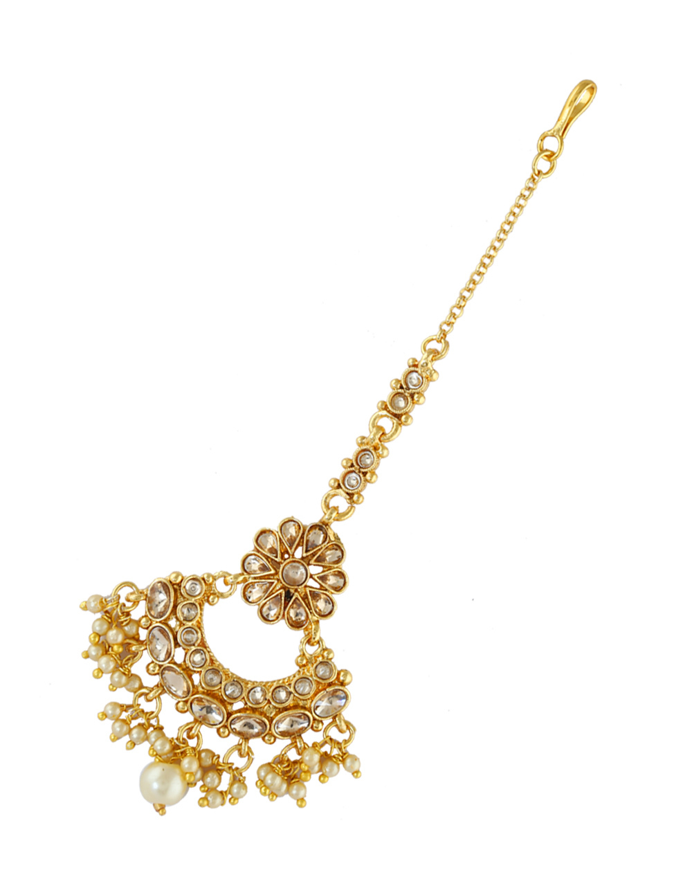 Beautiful Gold Finish Styled With Pearls Beads Mang Tika Jewellery