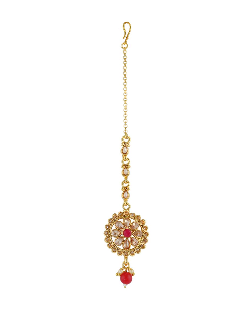 Red Colour Gold Finish Studded With Stones Fancy Tikka