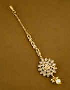 Fancy Gold Finish Stylish Hair Mang Tikka Jewellery