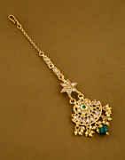 Green Colour Gold Finish Fancy Mang Tikka Jewellery