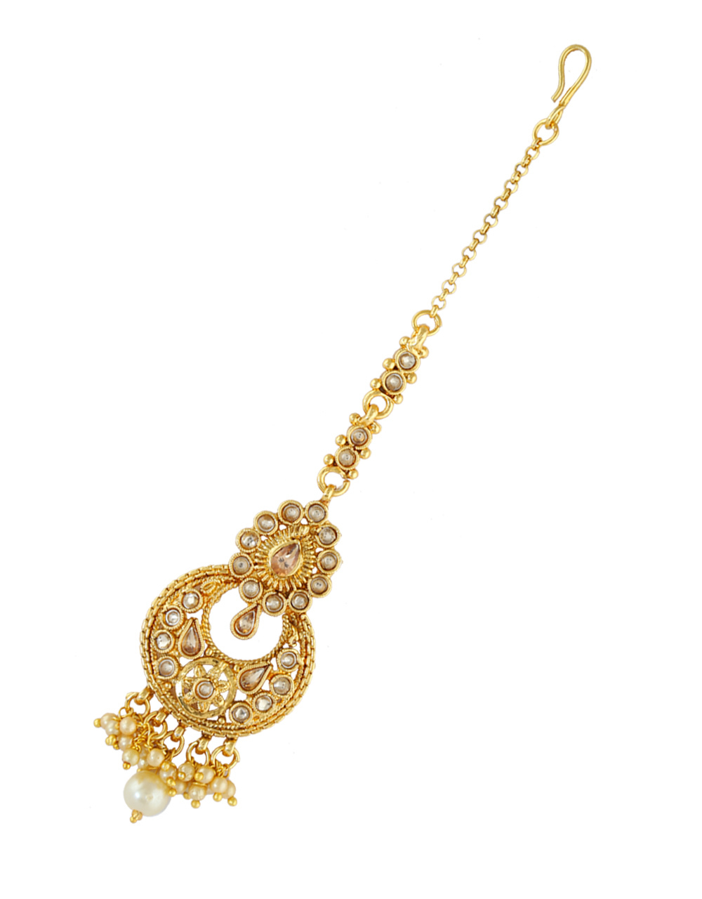 Floral Design Peach Colour Gold Finish Traditional Mang Tikka Jewellery