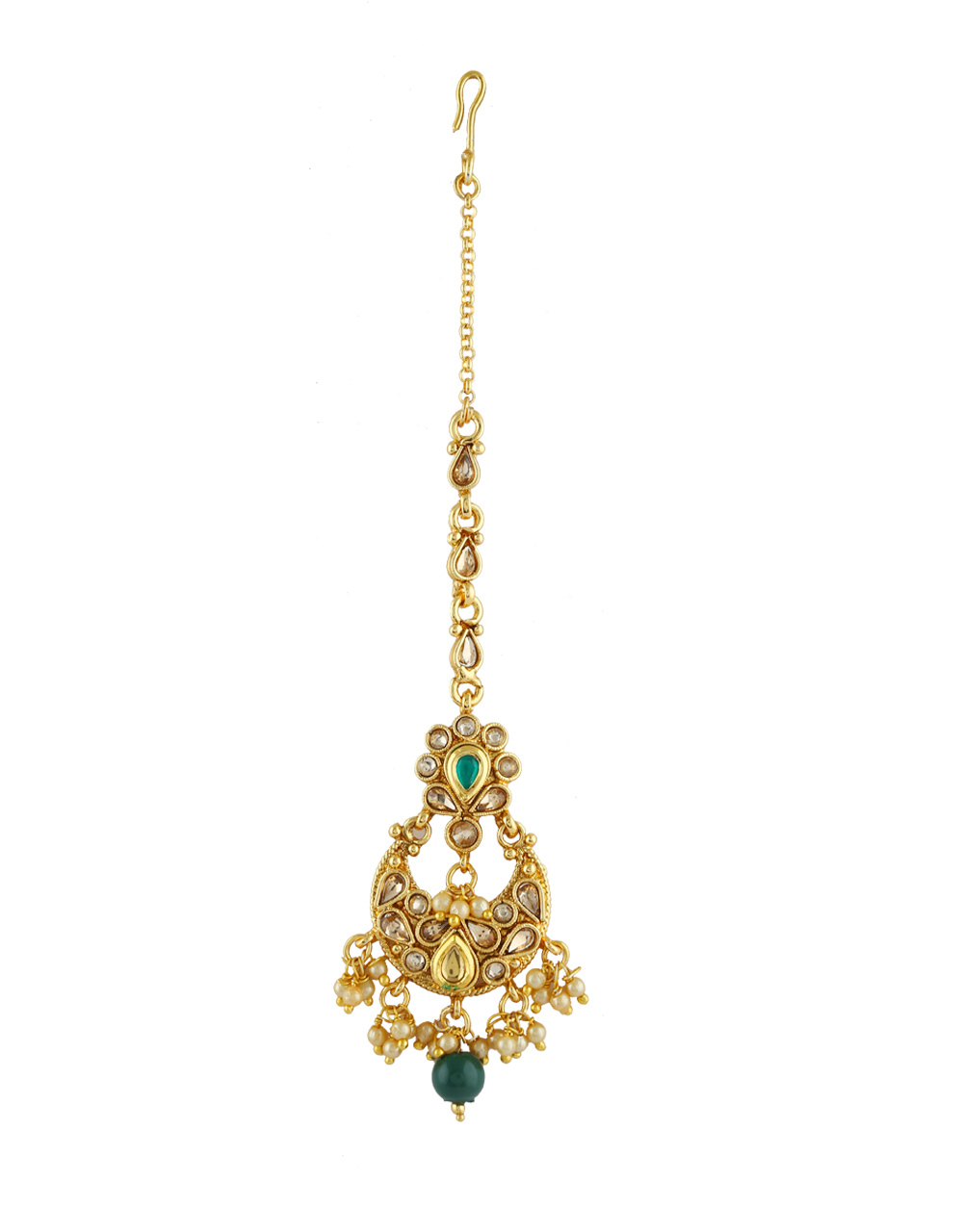 Very Classy Gold Finish Green Colour Pearls Styled Fancy Tikka