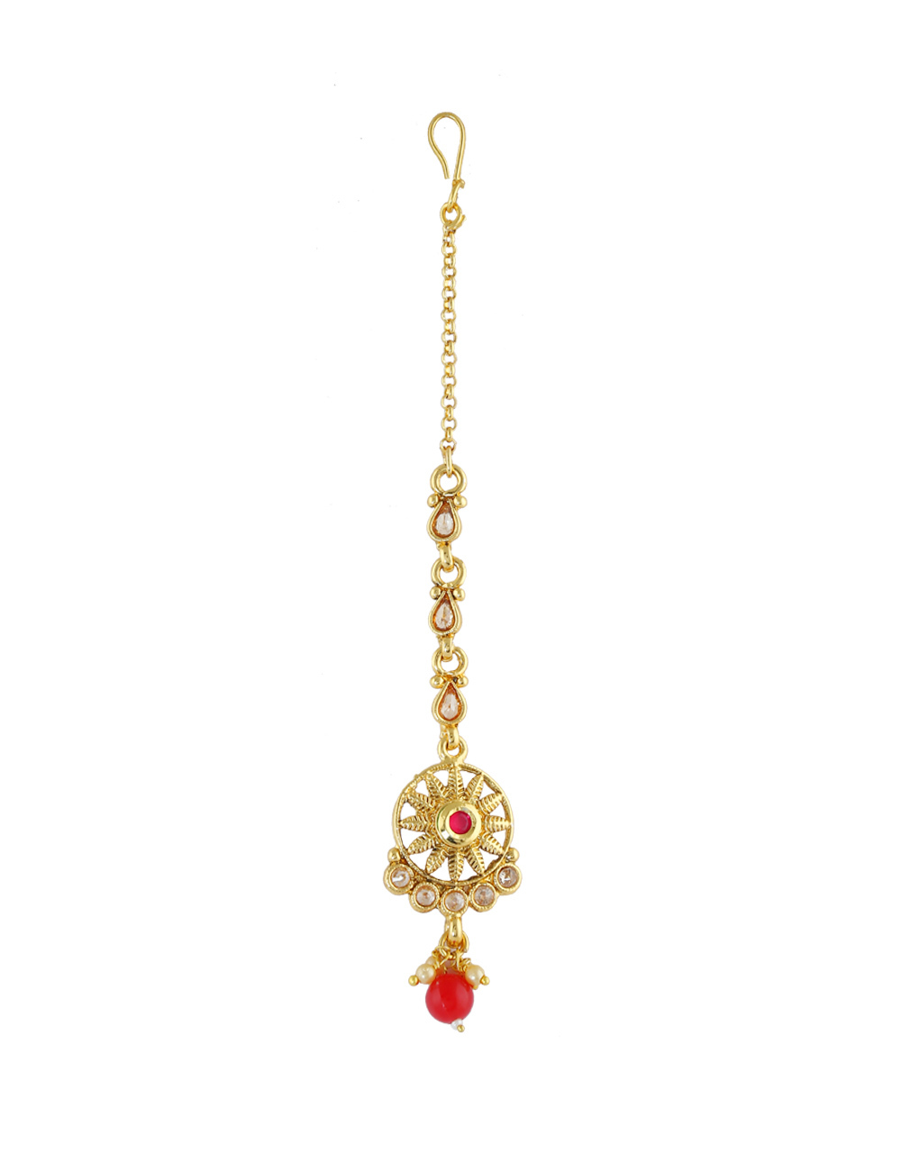 Red Colour Gold Finish Simple Mang Tika For Girls