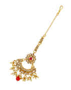 Red Colour Floral Design Fancy Mang Tikka Hair Jwellery