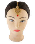 Red Colour Gold Finish Traditional Hair Mang Tika Fancy