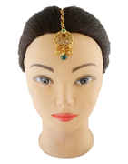 Green Colour Gold Finish Fancy Mang Tika For Weddings