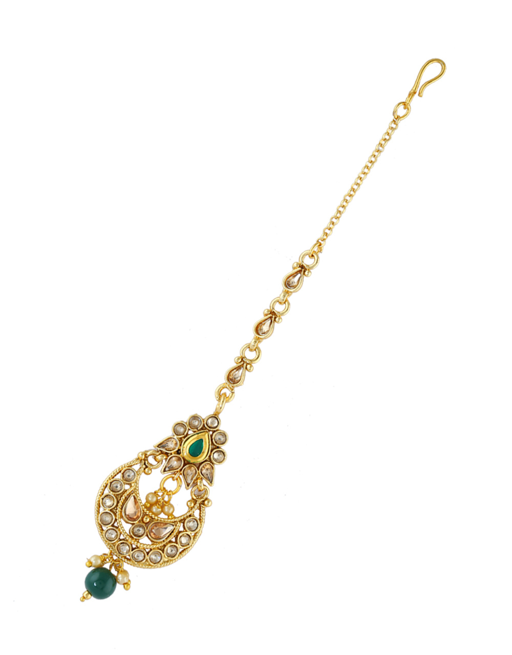 Green Colour Gold Finish Fancy Mang Tikka Accessories