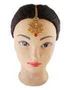 Red Colour Gold Finish Stunning Maang Tikka Hair Jewellery
