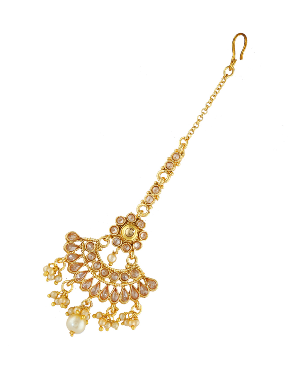 Fancy Gold Finish Styled With Pearls Beads Mang Tika Jewellery
