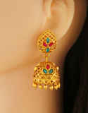 Multi Colour Zumki Matte Gold Finish Fancy Earrings