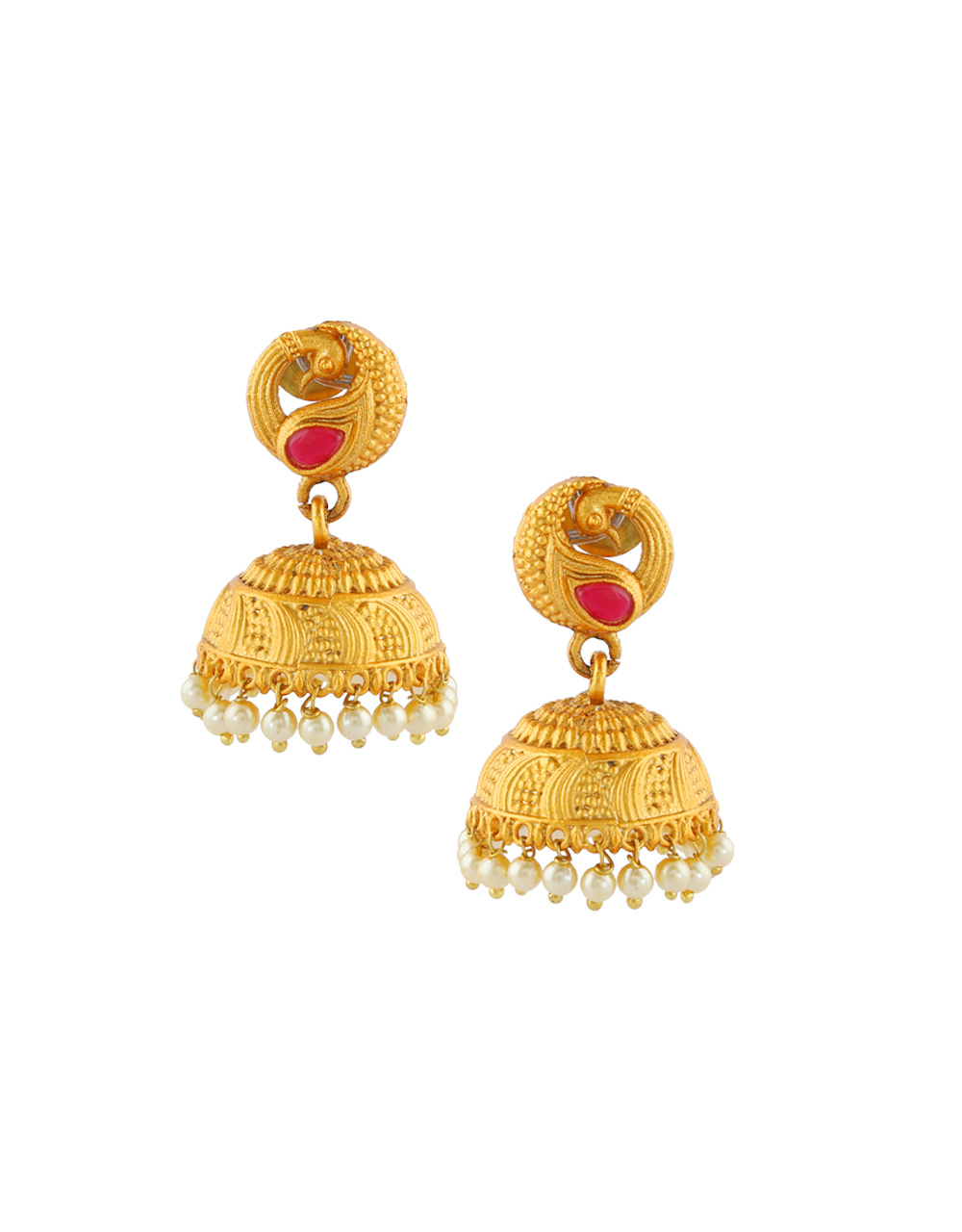 Red Colour Peacock Design South Matte Finish Earrings
