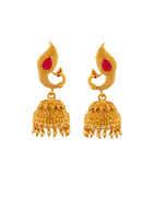 Red Colour Peacock Design Jhumkaa Earrings