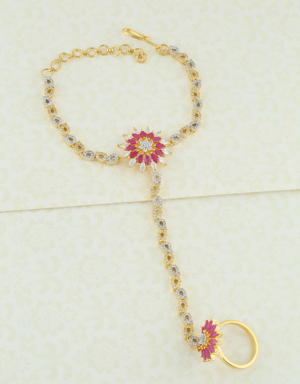 Pink Colour Gold Finish American Diamond Hath Phool