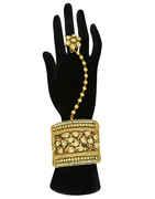 Antique Gold Finish Kundan Hath Phool For Wedding