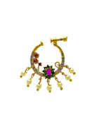 Pink-Green Colour Diamond Fancy Ring For Dulhan