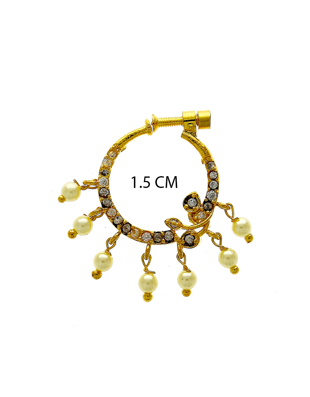 Fashionable Gold Finish Diamond Nose Ring