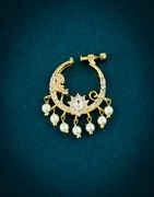 Designer Gold Finish American Diamond Nose Rings Fancy