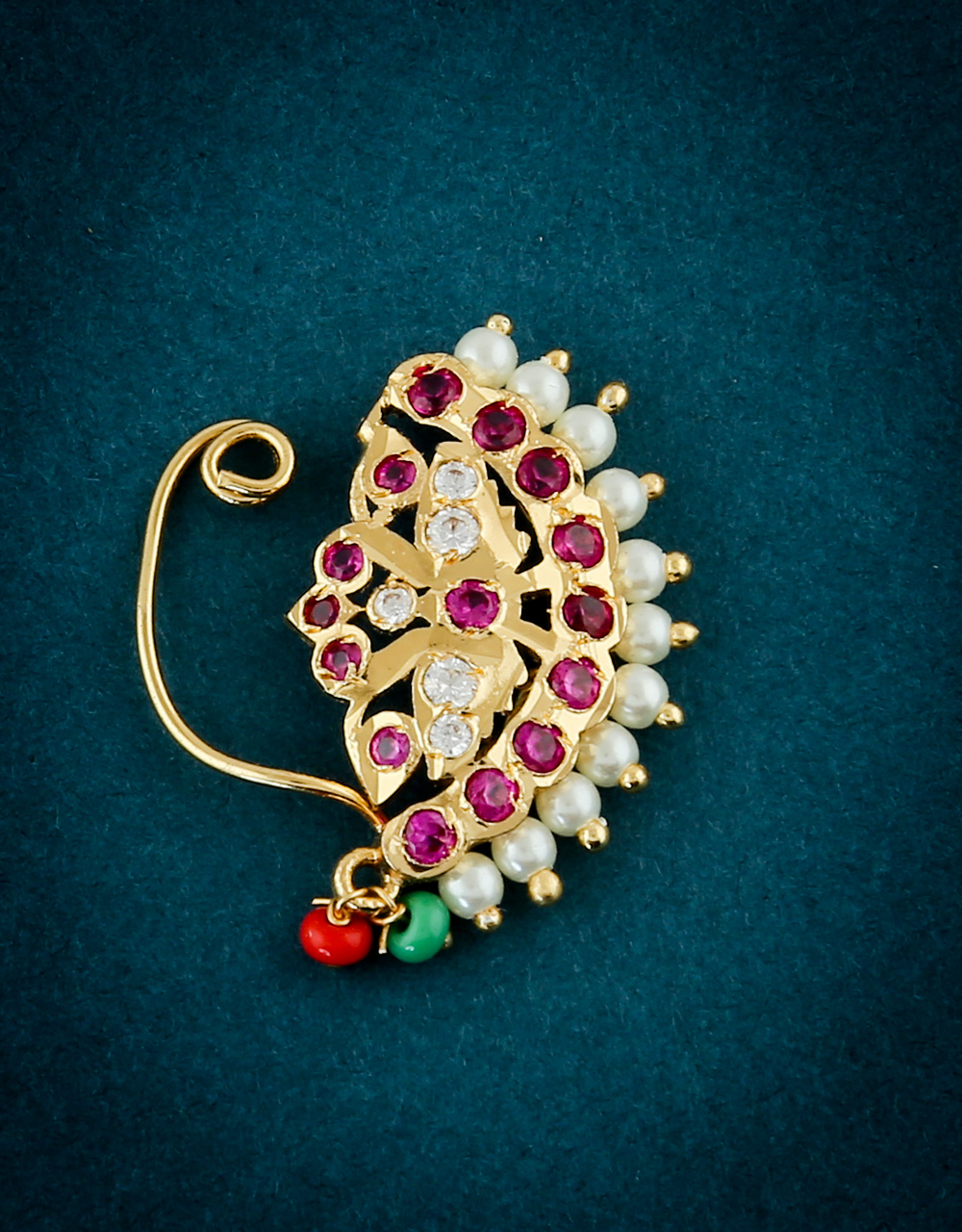 Designer Gold Finish Styled With Pearls Beads Nath For Fancy