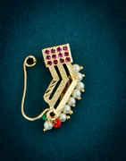 Gold Finish Pink Colour Unique Design Maharashtrian Nath