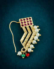 Designer Gold Finish Pink Colour Pearls Styled Nath