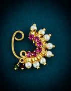 Pink Colour Gold Finish Marathi Bhanu Nath For Girls