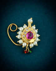 Simple Gold Finish Pink Colour Maharashtrian Nath For Women