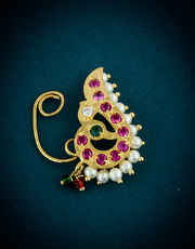 Pink Colour Gold Finish Fancy Nath For Wedding