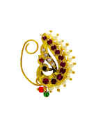 Peacock Gold Finish Pink Colour Nath Traditional