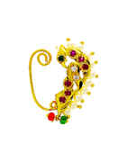 Peacock Design Gold Finish Traditional Nath For Girls