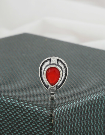 Red Colour Oxidised Finish Nose Pin For Fancy