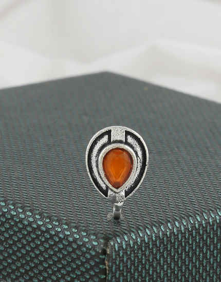 Orange Colour Silver Oxidised Finish Nose Stud
