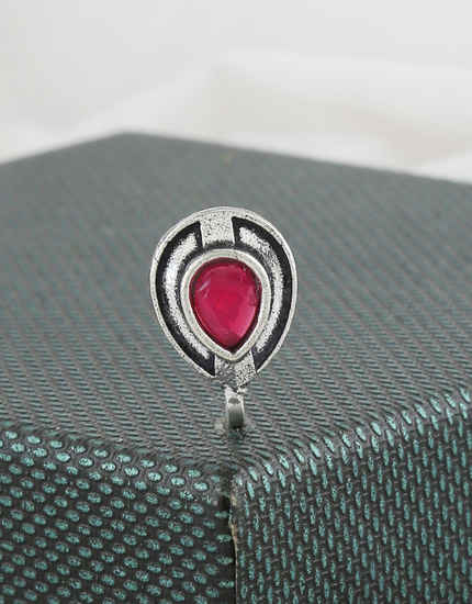 Pink Colour Silver Finish Fancy Nose Ring