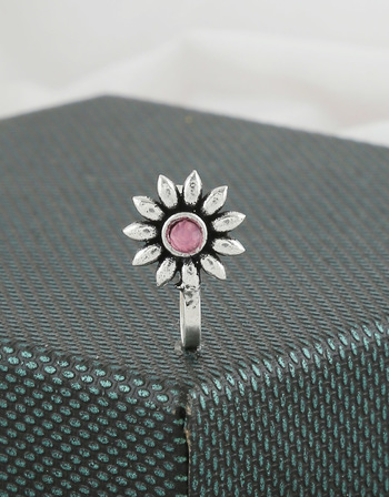 Floral Design Pink Colour Oxidised Press On Nose Ring