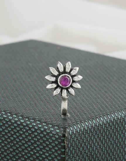 Purple Colour Floral Design Silver Oxidised Finish Press Nose Ring