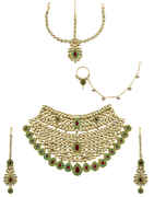 Green Colour Gold Finish Studded With Kundan Bridal Post