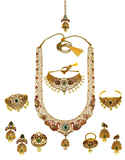 Fashionable Gold Finish Necklace Studded With American Diamond Bridal Set