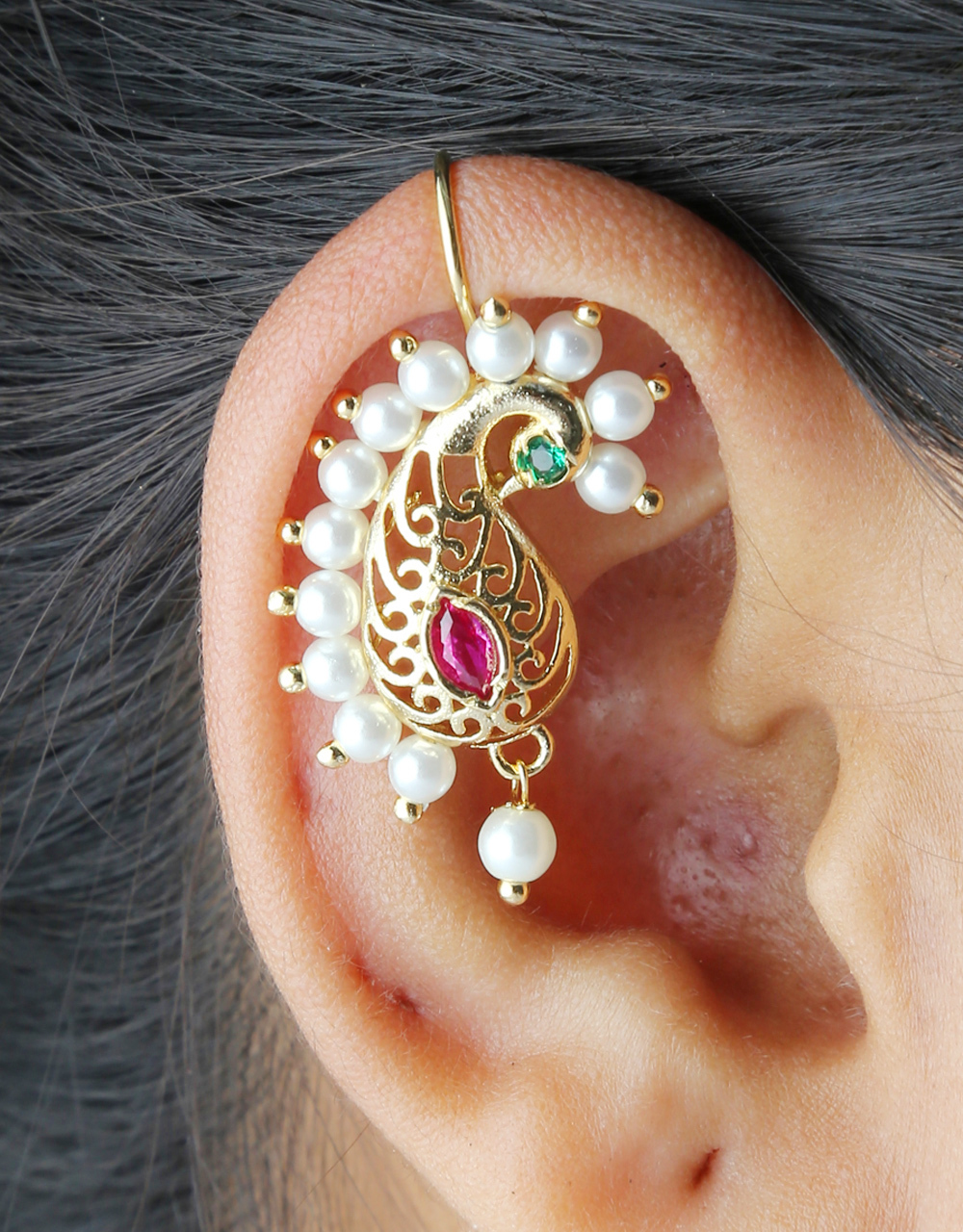 Gold Finish Buugadi Styled With Pearls Beads Bugadi