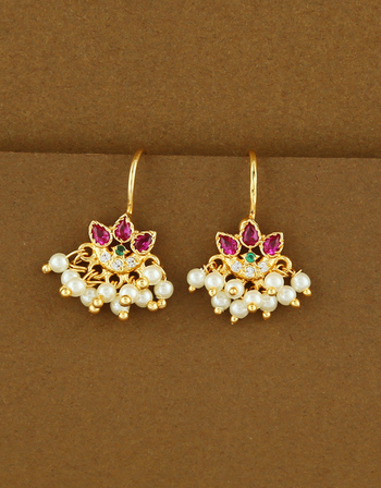 Multi Colour Gold Finish Styled With Pearls Beads Bugadi