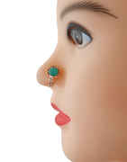 Rose Gold Finish Green Colour Nose Ring