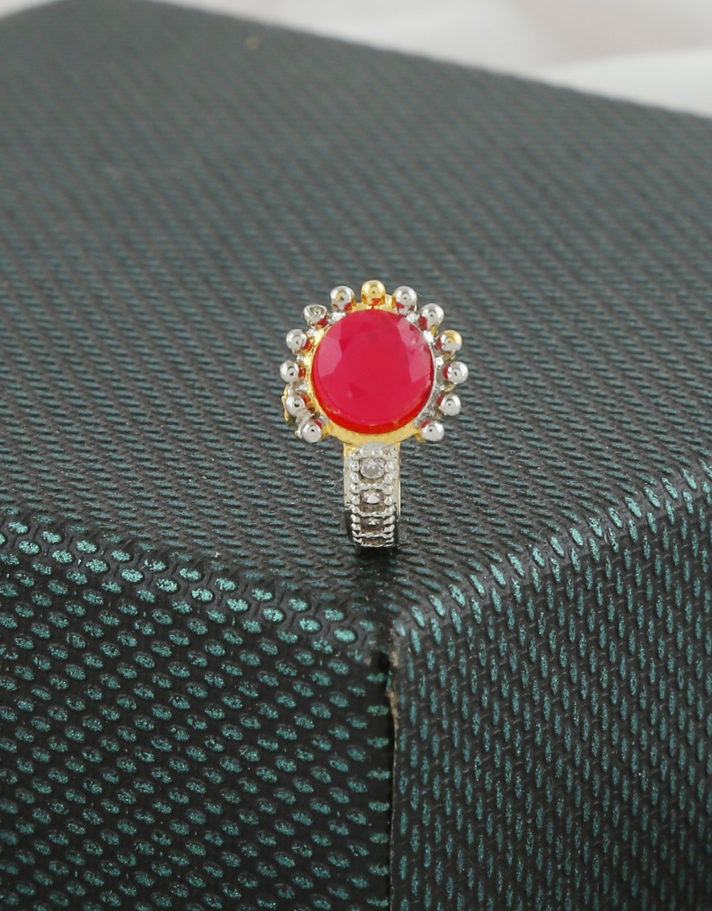 Red Colour Gold Finish Press On Nose Ring