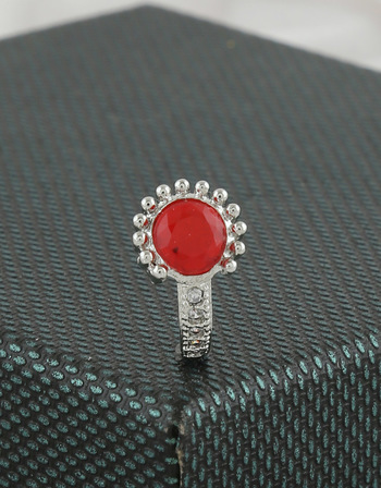 Silver Finish Red Colour Nose Ring For Girls