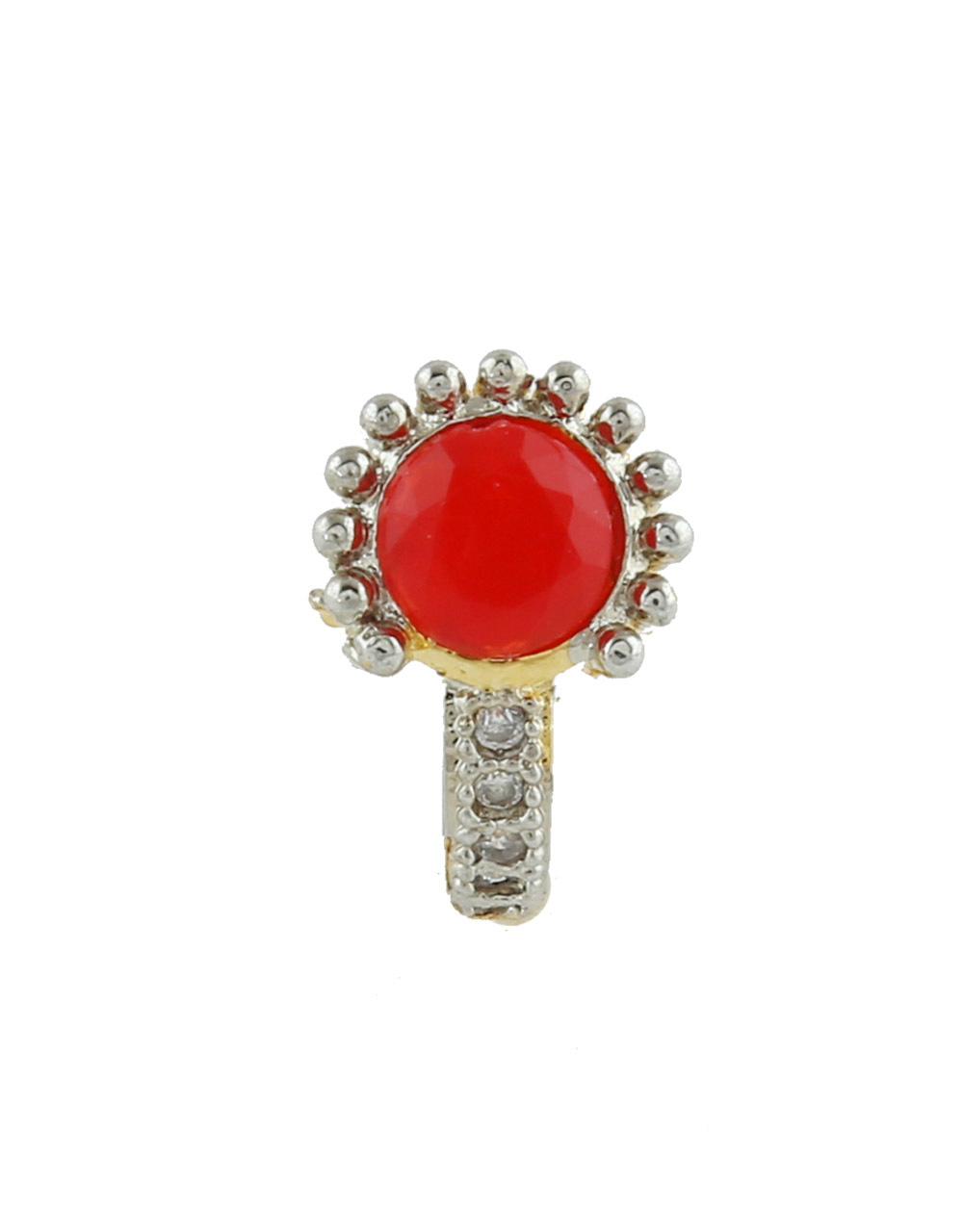 Gold Finish Red Colour Western Wear Diamond Nose Stud