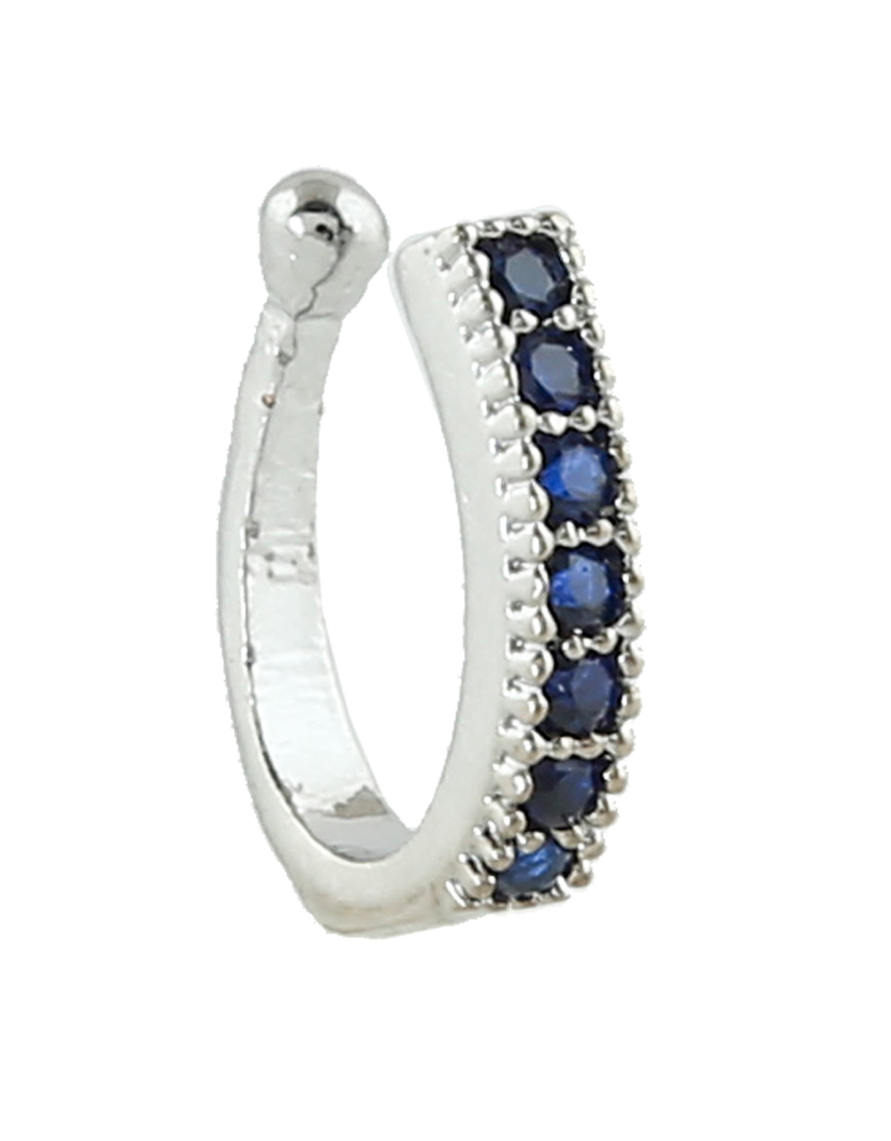Blue Colour Silver Finish Diamond Nose Ring
