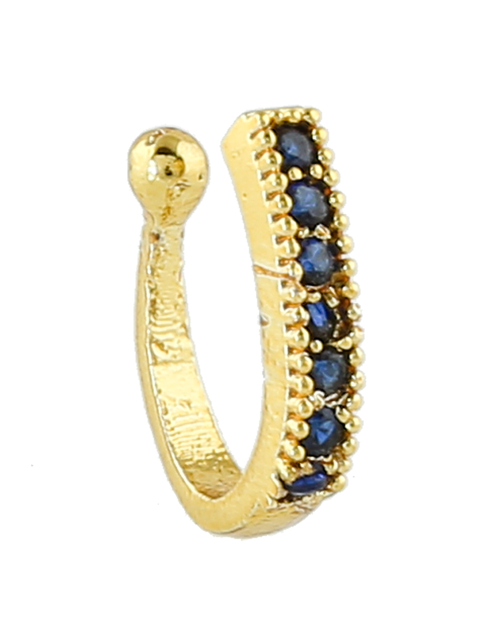 Gold Finish Blue Colour Press On Nose Ring