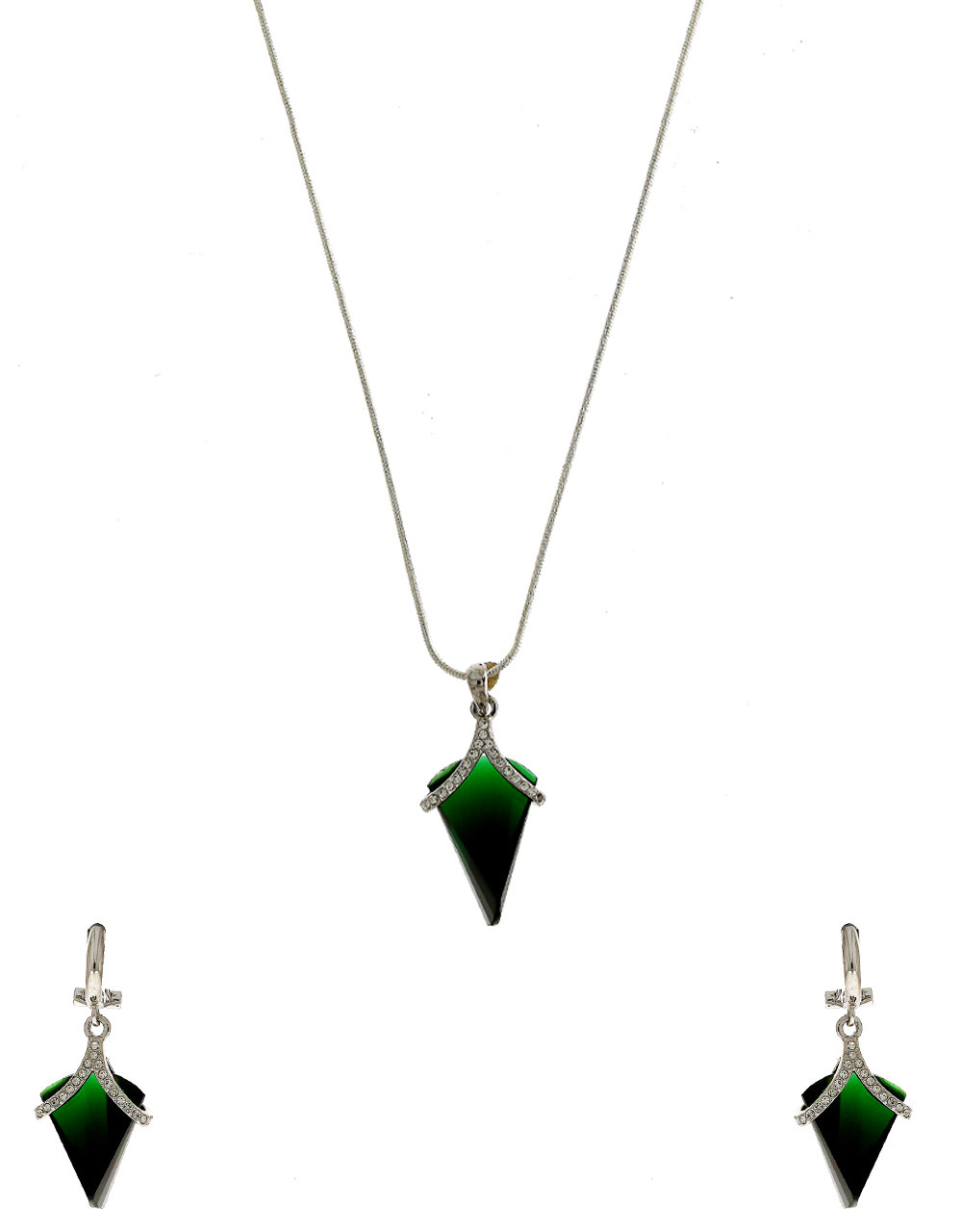 Green Colour Silver Finish Korean Pendant Set