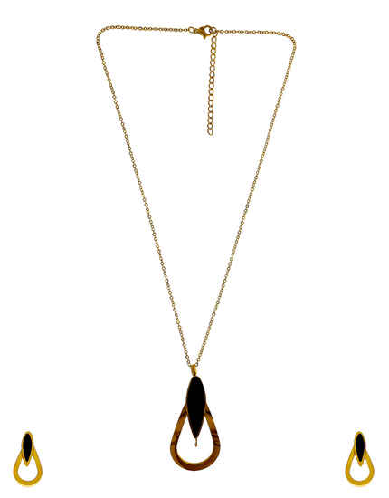Black Colour Gold Finish Fancy Western Wear Pendant Set