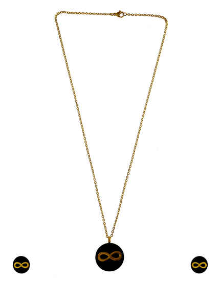 Black Colour Gold Finish Stylish Korean Pendant Set